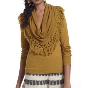 Anthropologie fringe cowl neck sweater small